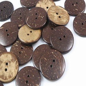 YAKA 100pc New Thick Coconut Shell 2 Holes Button Craft /Sewing/hot Products by YAKA