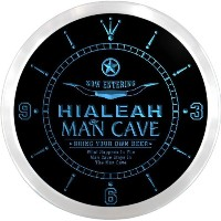 LEDネオンクロック 壁掛け時計 ncpb2140-b HIALEAH Man Cave Cowboys Beer Pub LED Neon Sign Wall Clock