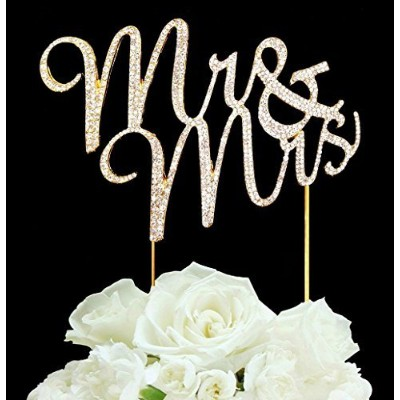 Real Rhinestone GOLD Mr & Mrs Cake Topper Wedding by Forbes Favors