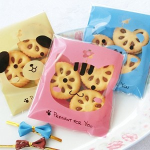 Yunko 300pcs Lovely Animals Puppy Cat & Bear Paw Self-adhesive Candy Cookie Bags for Wedding Birthday Party Gift Packaging by YunKo