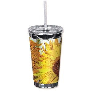 Mugzie 336-TGC Van Gogh: Sunflowers To Go Tumbler with Insulated Wetsuit Cover, 16 oz, Black by...
