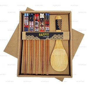 Happy Sales Bamboo Chopsticks Gift Set Rice Paddle Included Lucky Cat by Happy Sales