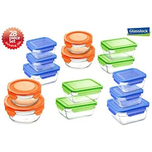 Snaplock Lid Tempered Glasslock Storage Containers 28pc set Combo with assorted color of lids -...