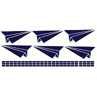 Wall Decor Plus More WDPM2512 Paper Airplane Boys Wall Sticker for Room Decoration, Deep Blue, 6...