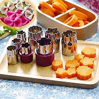 LOHOME Vegetable Cutter Mold, Stainless Steel Mini Cookie Cutters Flower Shape Slicer Cake Fruit...