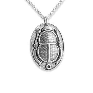 Ancient Egyptian Cartouche Scarab Beetle Amulet Necklace (14 Inches)