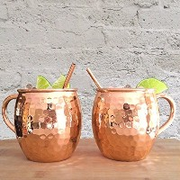 Set of 2 Hammered Copper Moscow Mule Mugs with Copper Straws - Two Artisan Quality Handmade Solid...