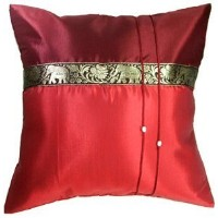 """Artiwa® 16""""x16"""" Red Throw Decorative Silk Accent Pillow Cover for Sofa Bed Couch : Thai Elephants..."""