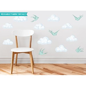 Sunny Decals Modern Clouds Fabric Wall Decals with Birds (Set of 9) by Sunny Decals