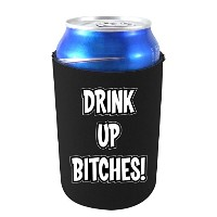 Drink Up Bitches面白いCan Koozie、ネオプレンCollapsible Can, 12 oz ブラック DrinkUpBitchesCanBlack
