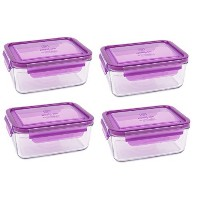 Wean Green Meal Tubs 36oz/1090ml Glass Food Storage Containers - Grape (Set of 4) by Wean Green