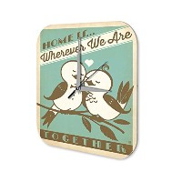 Fun 壁時計 wall clock Vintage Decor Home is ... love birds Acryl Plexiglass