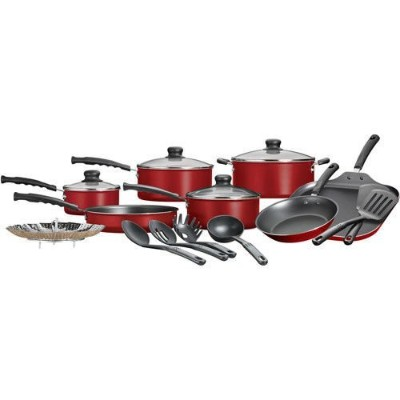 18 Piece Nonstick Pots & Pans Cookware Set Kitchen Kitchenware Cooking NEW (Red) by Mainstays