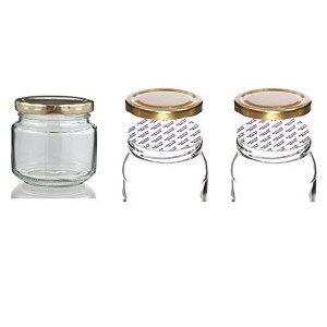 Withjenny Glass Storage Container Jars With Lids, 250ml Set Of 3, Heat Cut Shrink Clear Bands For...