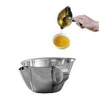 Amteker Kitchen Tools Cooking Oil Grease Trap Filter Stainless Steel Oil Fat Separator Bowl with...