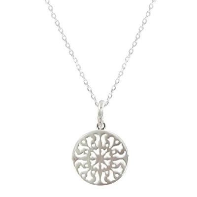 Les Poulettes Jewels - Sterling Silver Necklace Round Arabesque -Size 42 cm