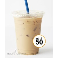 COMFY PACKAGE 50 Sets 16 oz. Plastic CRYSTAL CLEAR Cups with Flat Lids for Cold Drinks, Iced Coffee...