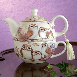 Bits and Pieces – Tea for One Owls磁器ティーポットとカップ – 愛らしいフクロウデザイン