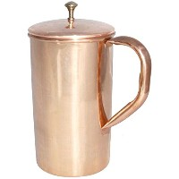 AVS STORE テつョ Ayurveda Hand Made Pure and best Quality Copper Pitcher Jug & Glass for Storing...
