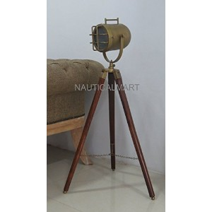 Industrial Vintage Tripod Table Lamp Antique Brass Search Light By Nauticalmart
