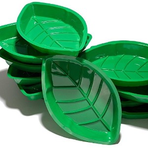 12 Palm Leaf Serving Trays (Green) Hawaiian Luaus Summer Tropical Party by Perfect Seeking