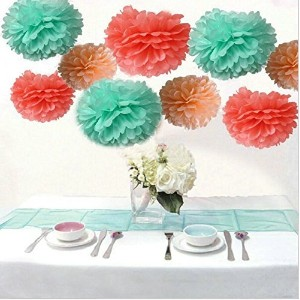 Saitec テつョ Mixed Coral Peach Mint Party Tissue Pom Poms Paper Flower Pompoms Wedding Birthday Party...