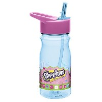 Zak Designs Tritan Water Bottle with Flip-Up Spout and Straw with Shopkins Graphics, 16.5 oz,...