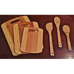 Bamboo cutting board 3 piece set with Bonus Utensils by DRC Trading- Meat and Veggie prep-cheese and cracker board-cocktail bar boards-juice groove -set of 2 different size Spoons and a Spatula by DRC Trading