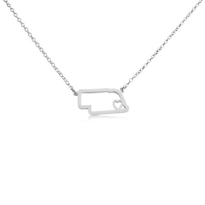 925 Sterling Silver Small Nebraska -Home Is Where the Heart Is- Home State Necklace (20 Inches)
