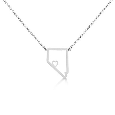 925 Sterling Silver Small Nevada -Home Is Where the Heart Is- Home State Necklace (20 Inches)