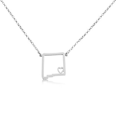 925 Sterling Silver Small New Mexico -Home Is Where the Heart Is- Home State Necklace (14 Inches)