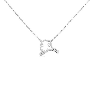 925 Sterling Silver Small Alaska -Home Is Where the Heart Is- Home State Necklace (16 Inches)
