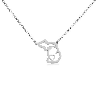 925 Sterling Silver Small Michigan -Home Is Where the Heart Is- Home State Necklace (16 Inches)