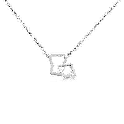 925 Sterling Silver Small Louisiana -Home Is Where the Heart Is- Home State Necklace (16 Inches)