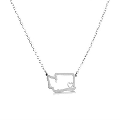 925 Sterling Silver Small Washington -Home Is Where the Heart Is- Home State Necklace (14 Inches)
