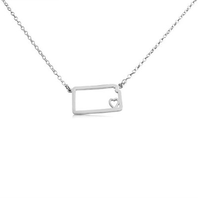 925 Sterling Silver Small Kansas -Home Is Where the Heart Is- Home State Necklace (16 Inches)