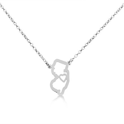 925 Sterling Silver Small New Jersey -Home Is Where the Heart Is- Home State Necklace (16 Inches)