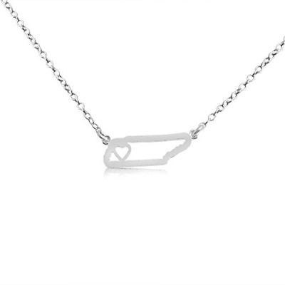 925 Sterling Silver Small Tennessee -Home Is Where the Heart Is- Home State Necklace (22 Inches)