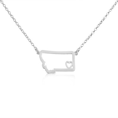 925 Sterling Silver Small Montana -Home Is Where the Heart Is- Home State Necklace (14 Inches)