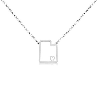 925 Sterling Silver Small Utah -Home Is Where the Heart Is- Home State Necklace (18 Inches)