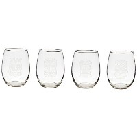 Rolf Glass Etched Tiki Red Wine Tumbler Glass (Set of 4), 21 oz, Clear [並行輸入品]