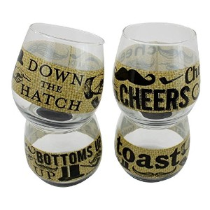 TMD Holdings 'Burlap Mustache' Stemless Wine Glasses, Clear, Set of 4 [並行輸入品]