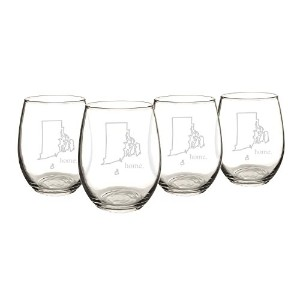 Cathy's Concepts Home State Stemless White Wine Glasses, Rhode Island [並行輸入品]