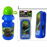 STAR WARS YODA BPAフリーSnack bundle- 2 Items : BPAフリー13オンス水ボトルwith Pull Openラウンドキャップ& Pull Top...