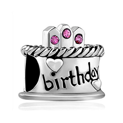 reisjewelry Happy誕生日ケーキチャームwith Candleのチャームビーズヘビチェーンブレスレット