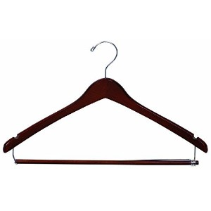 The Great American Hanger Company Walnut Suit Hanger with Locking Bar and Notches (Box of 25) ...