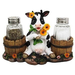 Sunflower Bovine Cow With Two Country Barrels Decorative Glass Salt Pepper Shakers Holder Resin Figurine by Gifts & Decors