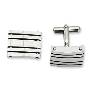 Polished Striped Cuff Links inステンレススチール