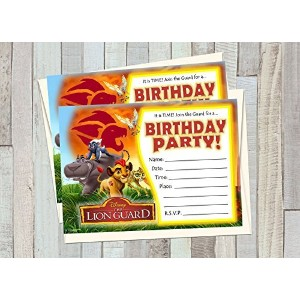 12 LION GUARD Birthday Invitations (12 5x7in Cards, 12 matching white envelopes) by A2ZPlusmore