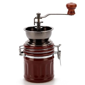 3E Home Manual Canister Ceramic Burr Coffee Mill Grinder, Stainless Steel Top and Ceramic Body ...